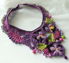 Crocheted statement necklace, Pansy Lace ♥ by DAINTYCROCHETBYALY