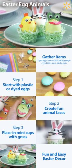 Looking for some Easter decorations that are little more festive? Then try making cute Easter Egg Animals like these frogs, chicks and bunnies. This Helpful Hack is great fun craft for kids. All you need are some colored plastic or dyed eggs, construction paper, glue and googly eyes. Once you have everything start making as many different Easter Egg Animals as you can. Get everything you need to make these cute Easter Egg Animals at Walmart.