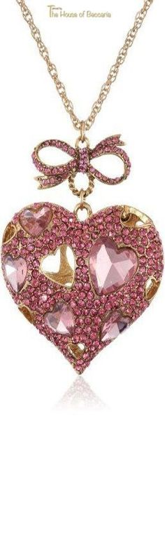 "~Betsey Johnson ""Iconic Pinkalicious"" Crystal Heart Pendant Long Necklace, 35"" 