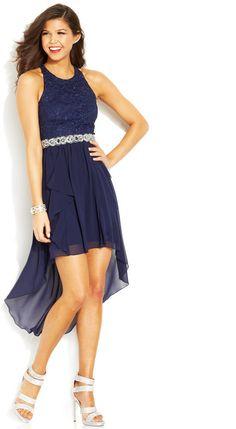 City Studios Juniors' Lace High-Low Dress