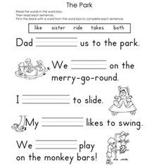 Printables Fill In The Blank Worksheets fill in the blank worksheets reading ojays and park the