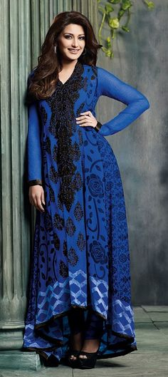 402301, Party Wear Salwar Kameez, Bollywood Salwar Kameez, Georgette, Chiffon, Machine Embroidery, Resham, Zari, Lace, Blue Color Family