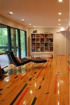 Reclaimed maple gym floor.  Urban Evolutions, Menasha, WI.