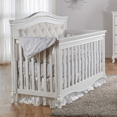 Pali Diamante Classic White Upholstered Baby Crib - perfect for your newborn girl! Create a dreamy nursery. #decor