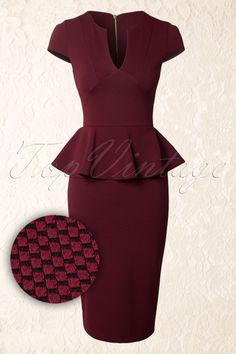 Vintage Chic - 50s Carese Peplum Dress in Wine and Black