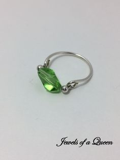 Peridot Ring Swarovski Crystal Ring Wire Wrapped Jewelry  Wire Wrap Ring ~ Solitaire Ring ~ Stackable Ring ~ Sterling Silver Peridot Ring by JewelsofaQueen on Etsy