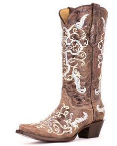 Women's Tobacco/ Beige Silver Sequence Cross Boot - A1187 - cool wedding boots