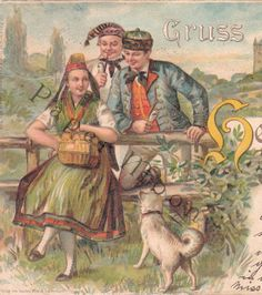 Antique Travel Postcard Greeting from Heffenland 1901 Folk Costumes Artist Signed