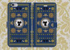 中面白無地◆手帳型スマホケースS/M 黒猫洋書◆紺