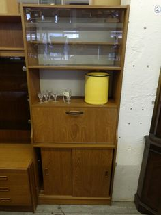 Retro Display Cabinet With Drinks Bureau In Good Condition,  --------------------------- £25  H - 183cm W - 76cm D - 38cm (PC811) 5000 sq ft Showroom OPEN 7 days a week