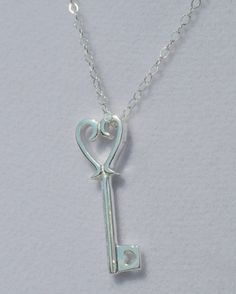 Heart Key Sterling Silver Necklace