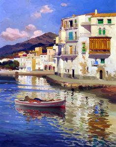 """huariqueje: """"  Cadaqués - Ezequiel Torroella Catalan 1821-1898 Oil on canvas """""""