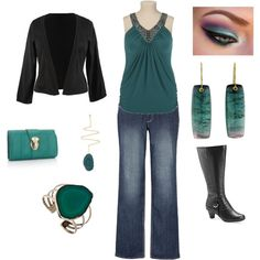 Plus Size Black and Teal Outfit.  Snazzy tailored blazer / jacket, denim (of course), leather boots (a must!) and teal.  Color with just a dash of glam.