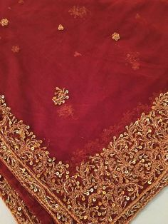 Dark Orange Red NET Shawl, Gorgeous NET Gold and Copper embroidered Dupatta Shawl, gorgeous Dark Red Maroon Scarf, Bridal Dupatta, Ribbon Choker, Evening Shawls, Silk Taffeta, Real Pearls, Copper Metal, Dark Red, Orange Red