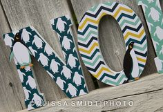 Penguin Custom Nursery Wooden Letters, Baby Boy Nursery or Baby Girl Nursery - Penguin Theme, Arctic Animals Custom Letters, 7 inch size Owl Themed Nursery, Penguin Nursery, Owl Nursery, Nursery Themes, Penguin Craft, Nursery Ideas, Penguin Baby Showers, Nursery Accessories, Baby Penguins