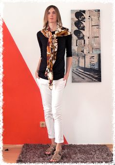 enriched style by amyzing floral scarf Androgyny, Floral Scarf, White Jeans, Pants, Gender, Style, Fashion, Trouser Pants, Swag