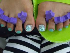 toenail summer design | nail designs with light blue paint color this nail design using the ...