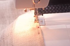 DIY Burlap Table Runner - How to sew hem on burlap