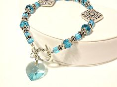 Crystal Blue Light Turquoise Crystal Heart by RomanticThoughts, $32.00