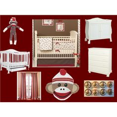 Sock Monkey Nursery by laurenragan on Polyvore featuring interior, interiors, interior design, home, home decor, interior decorating, EFF and Retrò