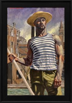 Mark Beard - [Bruce Sargeant Gondolier Looking Into the Distance Museum Of Fine Arts, Museum Of Modern Art, Art Museum, Boston Museums, Modern Art Movements, Fantasy Art Men, Queer Art, Realism Art, Gay Art
