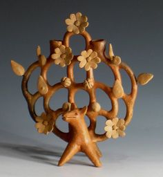 """Tree of Life"" attr: Heron Martinez  Mexico  Ceramic  Circa 1960  H. 7 inches"