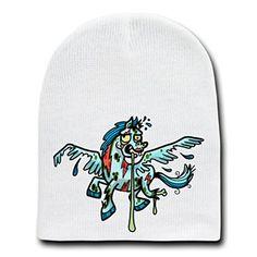 'Zombie Pegasus' Funny Animal Zombie Cartoon - White Beanie Skull Cap Hat