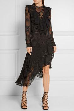 Preen by Thornton Bregazzi | Etha ruffled devoré silk-chiffon midi dress | NET-A-PORTER.COM