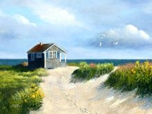 I love the idea of a secluded little cottage by the sea.  Paintings and Prints by Kathryn Kleekamp, Cape Cod MA.