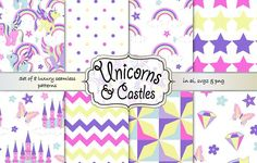 Unicorns and castles pattern set by Gaynor Carradice Designs on @creativemarket