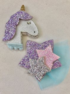 Glittery Unicorn and Glitter Star Appliqué Felt Embellishments