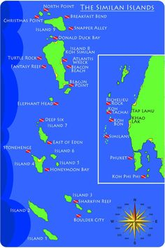 Khao Lak resorts | map with the best dive sites at the Similan Islands and beyond