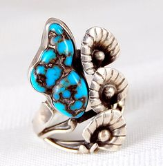 Vtg Navajo Bisbee Turquoise Nugget Calla Lily Flower Sterling Silver Ring 7 1/4