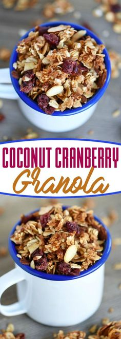This Coconut Cranberry Granola is the perfect topping for yogurt, ice cream and more! Enjoy as a snack or for breakfast as cereal! Truly versatile and delicious!