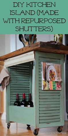Wood Shutters - Kitchen Island - DIY Re-purposed Shutter Island.old shutters, wooden drawer pieces of wooden molding make this fabulous small kitchen island! Furniture Projects, Furniture Makeover, Home Projects, Diy Furniture, Painted Furniture, Kitchen Furniture, Furniture Plans, Chair Makeover, Vintage Furniture