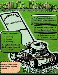 Lawn Care Mow Grass Landscaper SMALL Flyer | Paper, Flyers and ...