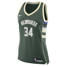 f1ac4b32b68a6 Giannis Antetokounmpo Icon Edition Swingman (Milwaukee Bucks) Women s Nike  NBA Connected Jersey Size M (Fir)