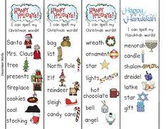 Freebielicious: Word Work: December Words