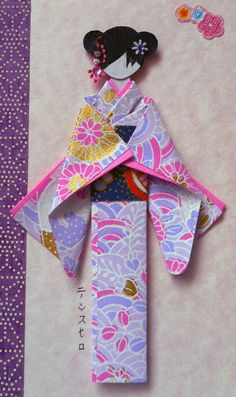 "All-purpose handmade card with hand-folded Japanese paper doll. kimono, obi and decorative margin (yuzen washi); hair decor (Indian ""bindi"" and nail art sticker). Card size: 15 cm x cm (doll height: cm). Japanese Origami, Japanese Paper, Japanese Prints, Paper Crafts Origami, Origami Paper, Oragami, Paper Dolls, Art Dolls, Asian Quilts"