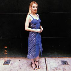 Emma Roberts wore a risque cut-out dress to promote her latest film Little Italy on Wednesday. Emma stunned in a denim Abode design that featured a checked cut out down its entire sides. Emma Roberts Boyfriend, Emma Roberts Age, Dress Cuts, Celebs, Celebrities, Sexy, Blue Dresses, Celebrity Style, How To Wear