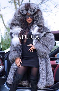 8e1eb7c75 Details about NEW SMOKEY FOX FUR COAT CLAS RUSSIAN SABLE LONG JACKET MINK  CHINCHILLA LYNX GOLD
