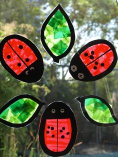 Use tissue paper to make vibrant ladybug and leaf suncatchers. They look beautiful hanging in a window.
