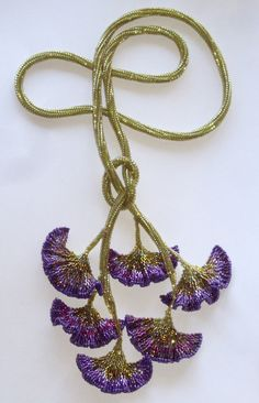 Reserved for ANNABABYDOLL only – Purple Gingko Lariat Necklace / Herringbone beadwork rope and six beaded leaves