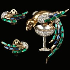 Trifari Alfred Philippe Parrot on Champagne Glass Pin and Clip Earrings Set