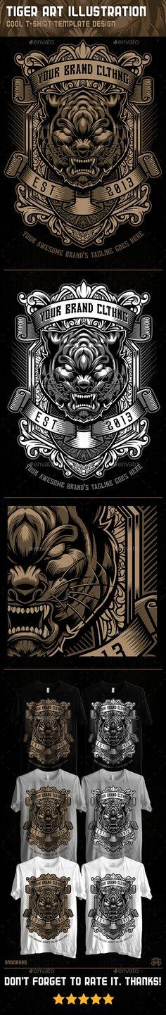 Tiger Art Illustration Tshirt Template #design Download: http://graphicriver.net/item/tiger-art-illustration-tshirt-template-design/11475625?ref=ksioks