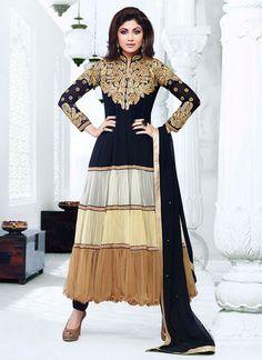 Shilpa Shetty Black and Brown Tiered Anarkali – Lashkaraa