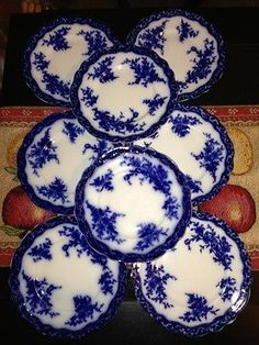 "Lot 8 Old Antique Stanley Pottery England Touraine Flow Blue 7 5"" Salad Plate   eBay"