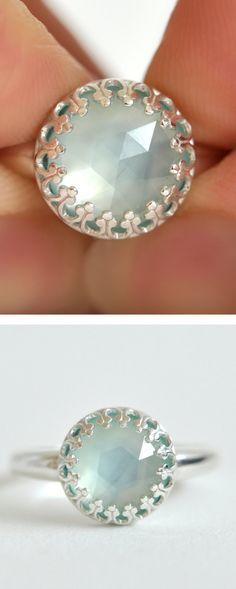 Aqua Chalcedony Ring
