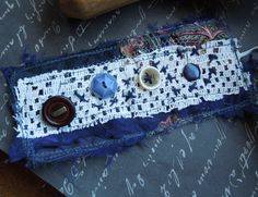 Navy Blue Textile Cuff with Blue Brown and by dwhitecreations, $25.00