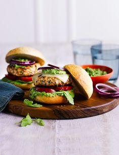 Spiced turkey burgers with pea guacamole  A quick, healthy alternative to our favourite hamburger, this smoky chipotle turkey burger is served with an amazing guacamole made from peas – a great substitute for an unripe avocado!